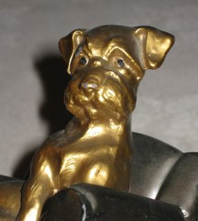 Antique Nuart Puppy Dog in Chair Art Statue Sculpture Home Table Desk Bookends