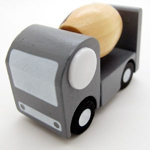 New Gray White Brown Hand Made Wooden Wood Mini Cement Truck Car Baby Kids Toys