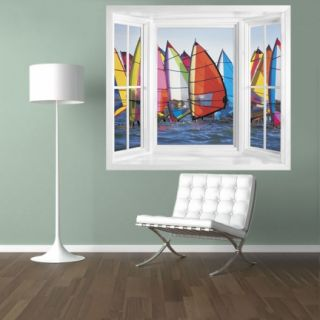 Windsurfers on The Sea Window Illusion Mural Peel Stick Large Scene Wall Decal