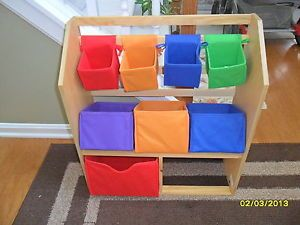 Wood Wooden Toy Box Chest Book Shelf Storage Organizer Baskets Kids Bins