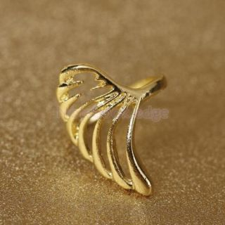 2X Vintage Lady Girl Angel Wing Feather Ring Gold Tone Party Wedding