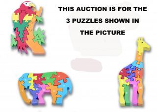 3 Childrens Wooden Jigsaw Puzzle Giraffe Parrot Elephant Traditional Toy Kids