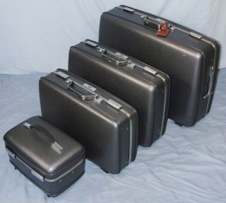 Vintage 70s Set American Tourister Blue Gray Hard Side Chrome Luggage Train Case