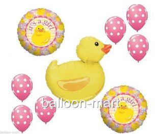 Rubber Duck Balloons Pink Polka Dots Baby Shower Decorations Supplies Ducky Girl