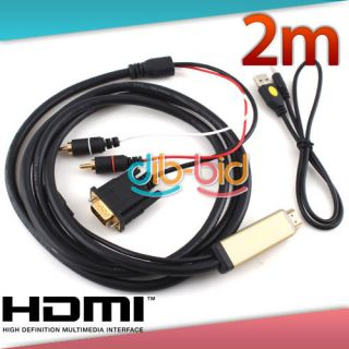 HDMI HDTV to VGA 2 RCA Audio Component Video Adapter Cable for PC Built with IC