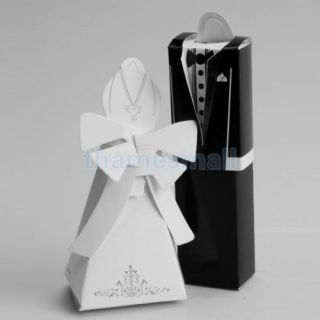 50 Pair Tuxedo Dress Gown Box Wedding Party Gift Jewelry Candy Favor Boxes Bags