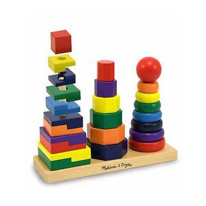Melissa Doug Geometric Stacker Wood Wooden Blocks Baby Toys Kids New
