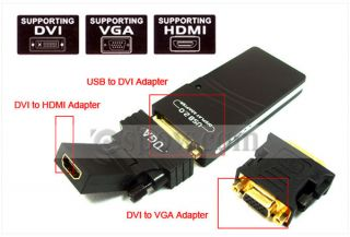USB 2 0 to DVI VGA HDMI Multi Display Dual Monitor Graphics Converter Adapter US