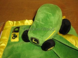 John Deere Green Plush Tractor Baby Banky Blanket With Satin Trim NWT