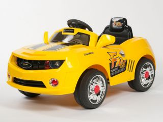 Kids Yellow Camaro Style Ride on RC Car Remote Control Electric Power Wheels