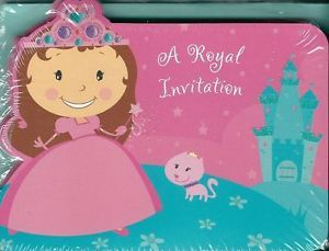 Princess Invitations Cards 10 Pack Girls Birthday Party Castle Fairy Pink Blue