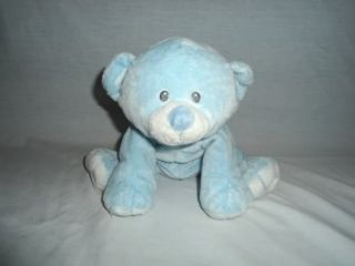 Ty Pluffies 2010 Blue Teddy Bear Woods Plush Lovey Baby Stuffed Sewn Eyes