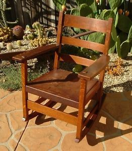 Antique L JG Stickley Mission Oak Arts Crafts Rocker Rocking Chair Leather