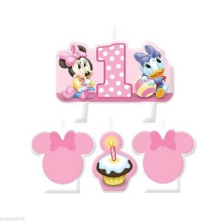 4pc Minnie Mouse 1st Birthday Molded Cake Candle Set First Party Supplies