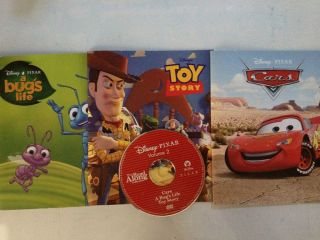 Disney Read Along Book DVD Toy Story Bugs Life Cars