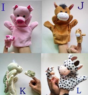 New Hand Sock Puppet Cute Family Toy 1 Large and 1 Small Size Cute Animal T03