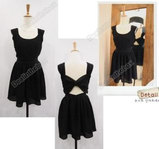 New Women's Korea Sexy Backless Sleeveless Mini Dresses Black