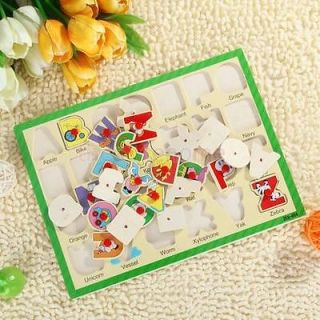 Kids Wooden Puzzle Toy ABC 26 Letter Alphabet Language