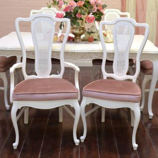 Shabby Cottage Chic Cane Back Dining Chairs French Vintage Style Pink White 6