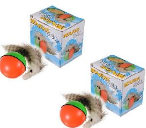 Two 2 Weazel Balls Battery Motor Toy Kids Pets Cat Dog Weasel Rolls Jumps