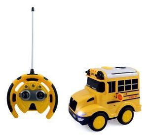 R C School Bus Radio Control Toy Car for Kids with Steering Wheel Remote Lights