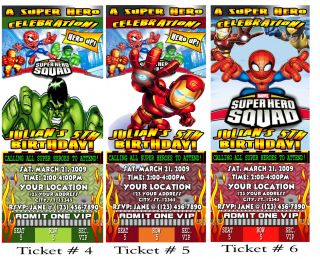 Super Hero Squad Birthday Party Ticket Invitations