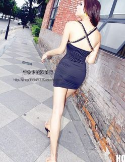 HO US New Sexy Women Girl Party Low Cut Mini Dress Rock Cocktail Suspender Skirt