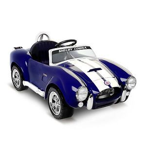 Kids Battery Powered Ride on Toy Blue Shelby Cobra Sports Car 6V