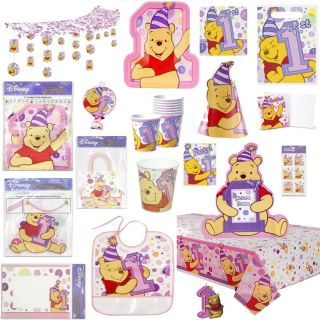 Pink Winnie The Pooh Girl's 1st Birthday Party Supplies Pick 1 or Create A Set