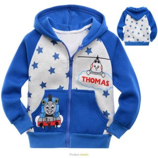 2 9 Years Baby Toddler Kids Boys Thomas Fleece Hooded Zip Up Jacket Coat V1001B
