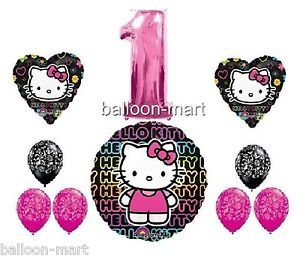 Hello Kitty Set 1st Birthday Pink Damask Balloons Decorations 1 First Party