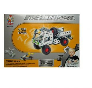 New Stainless Steel Vehicle Construction Kits Kids Toy Helicopter Truck Race Car