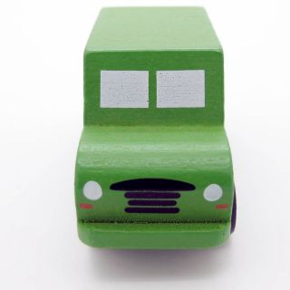 Green White Hand Made Wooden Mini Military Vehicle Soldier Car Baby Kids Toy 083