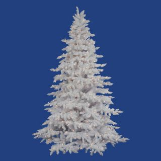 Vickerman Flocked White Spruce 4.5 Artificial Christmas Tree with 225 LED Warm White Lights with Stand