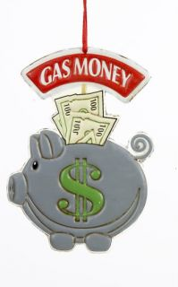 Kurt Adler Gas Money Pig Ornament Save Gone Green $
