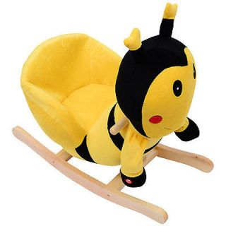 Qaba Baby Kids Toy Plush Rocking Horse Style Bumble Bee Theme Chair Seat Rocker