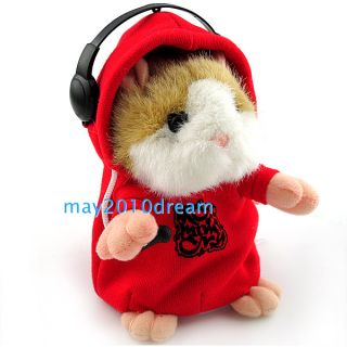 Mimicry Pet Talking Hamster Gift Animal Kids Plush Toy DJ Music Hamster Red New