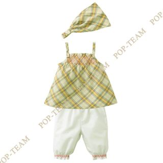 Girl Kids Baby Toddler 0 3Y 3pcs Grid Top Pants Scarf Outfit Set Clothing FT83