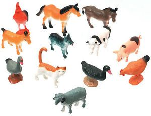 Kids Plastic Farm Animals Toy Miniature Barnyard 12pc Barn Animal Characters Set