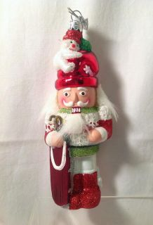 "New Kurt Adler 5 25"" Glass Holly Nutcracker Snowman Hat with Sled NB0201S"