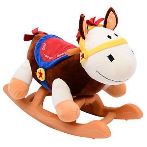 Qaba Baby Kids Toy Plush Rocking Horse Style Rodeo Horse Theme Riding Rocker