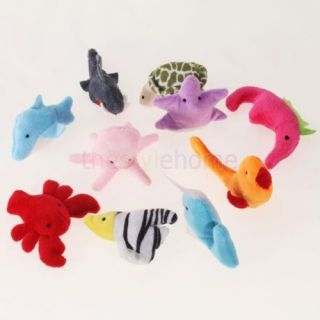 2X 10pcs Hand Finger Velvet Sea Animals Puppets Kids Toy Preschool Kindergarten