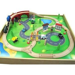 Kids Wooden Wood Toy Train Set Railway Activity Table Thomas Engine Chuggington