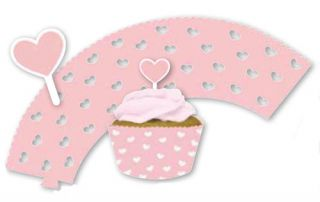12 Pack of Cupcake Cake Muffin Die Cut Wrappers Picks Pink Girl Baby Shower