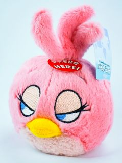 Angry Birds Rio Pink Girls Plush Toy Stuffed Figure 5'' with Sound Brand New