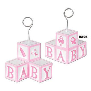 Baby Blocks Pink Girl Photo Balloon Holders Decorations Supplies Party Shower