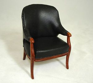 Dollhouse Bespaq Art Deco Moderne Black Leather Chair Doll House Miniatures