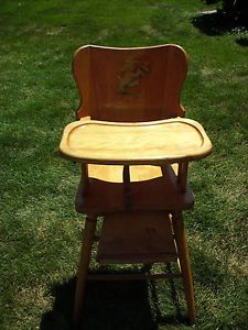 Vintage Solid Oak Wooden Baby High Chair w Removable Tray Pick Up Only Dayton Oh