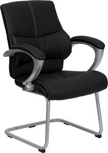 Best Heavy Duty Leather Office Chair Side Guest Reception Waiting Lumbar Support