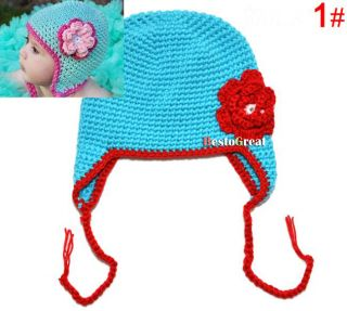 Children Baby Girls Kids Cute Crochet Knitted Handmade Flower Handmade Cap Hat